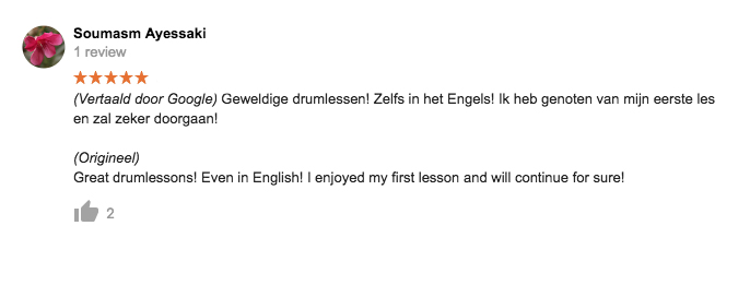 Drumles in Rotterdam Google Review2