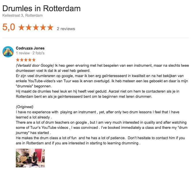 Drumles in Rotterdam Google Review